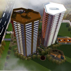 پروژه طراحی مجتمع مسکونی تجاری